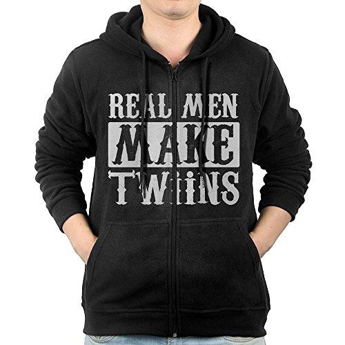 Httylo Hoodies Real Men Make Twins Man Full Zip Hoodie Graphic Fleece Sweatshirt With Pockets Black Score Full Zip Fleece
