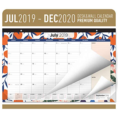 Oriday Academic Desk Calendar 2019-2020 - Monthly Wall & Desk Pad Calendar - Daily Planner & to-Do List Notepad (18 Months - July 2019 Through December 2020, 17