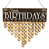 (US) ROSENICE BIRTHDAYS Wooden Calendar Board Family Birthday Reminder DIY Hanging Plaque Home Decor