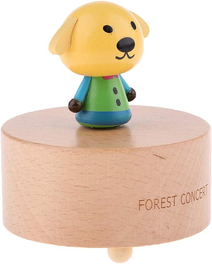 Caja de Música de Animales de Madera Gira Tecla de Cuerda Regalo de Cumplaños para Niña - Cachorro Amarillo: Amazon.es: Juguetes y juegos