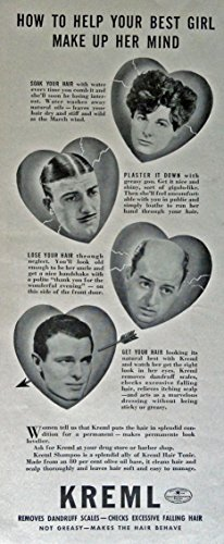 1940 Magazine - Kreml Hair Tonic, 40's Print ad. B&W Illustration (soak your hair, plaster it down, lose your hair, get your hair) Original Vintage 1940 Life Magazine Print Art