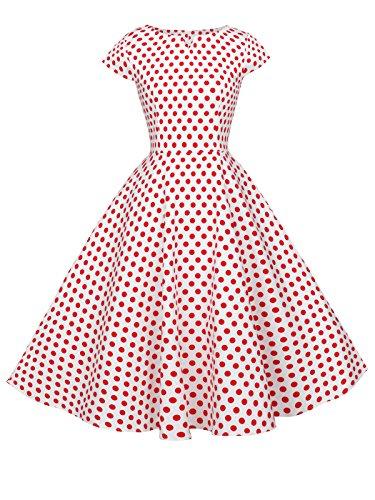 Fairy Couple 1950s Retro Rockabilly Pois Tappi Huelsen stipulazione ball vestito drt019 White Small Red Dots