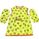 MyKazoe Toddler Artist Apron with Sleeves and 6-Piece Paint Brush Combo - Frog (Age 2-6)