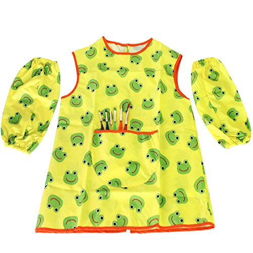 MyKazoe Toddler Artist Apron with Sleeves and 6-Piece Paint Brush Combo - Frog (Age ()