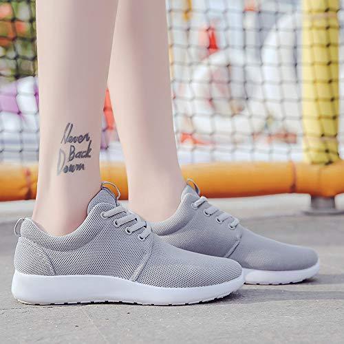 Mujer Entrenadores Casuales de Deportivas Fitness Cordones Zapatos Gris Sneakers Zapatillas Vuelo de para Zapatilla Correr Logobeing 1XxTtnq