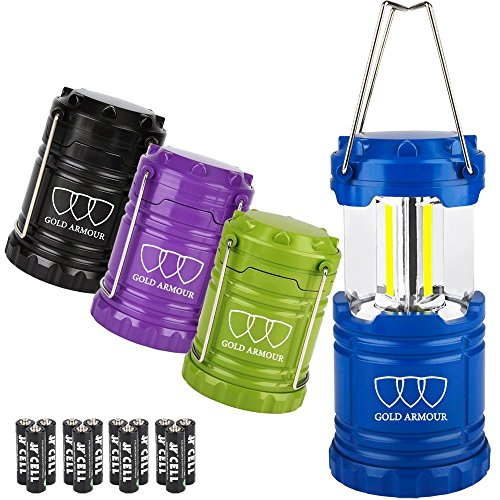Gold Armour Brightest LED Lantern 4Pack - Camping Lantern (EMITS 500 LUMENS!) - Camping Gear Equipment Accessories for Hiking, Emergencies, Hurricanes, Outages (Cl60)
