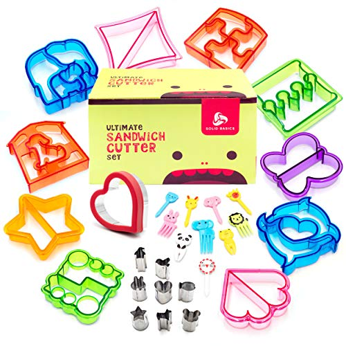 Colorful 29-Piece Ultimate Sandwich Cutter Set for Kids | Easy to Use Bento Lunch Box Accessories | Transform Vegetables, Cookie and Fruits Into Fun Bites | For Toddlers Boys & Girls