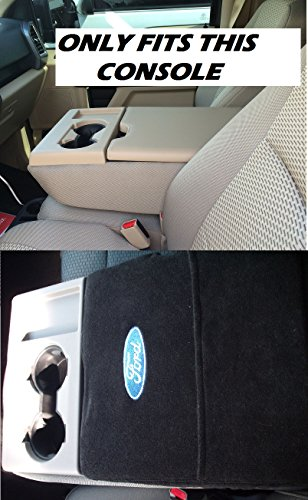 2012 2013 2014 2015 2016 Ford F150 F250 Regular, Super Cab, Super Crew, Xlt, Lariat Fits All Models Black Custom Fit Officially Licensed Car Suv Center Console Cover with Ford Embroidered Logo F7