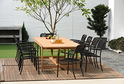 Brampton Eucalyptus 11-pc Patio Outdoor Extendable Dining Set, Black (Pack of 11)