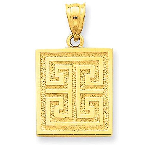 Pendants Travel and Transportation Charms 14K Yellow Gold Greek Key Design Charm Pendant