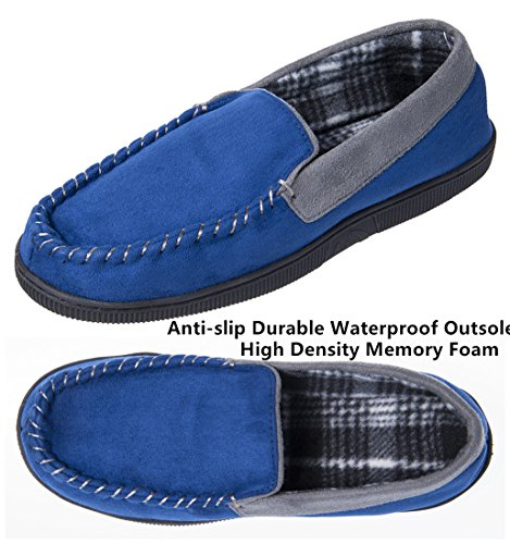 Festooning Mens Casual Pile Lined Indoor Outdoor Slip-on Rubber Sole Microsuede Moccasin Flats Slippers Blue&grey o0BQP1b