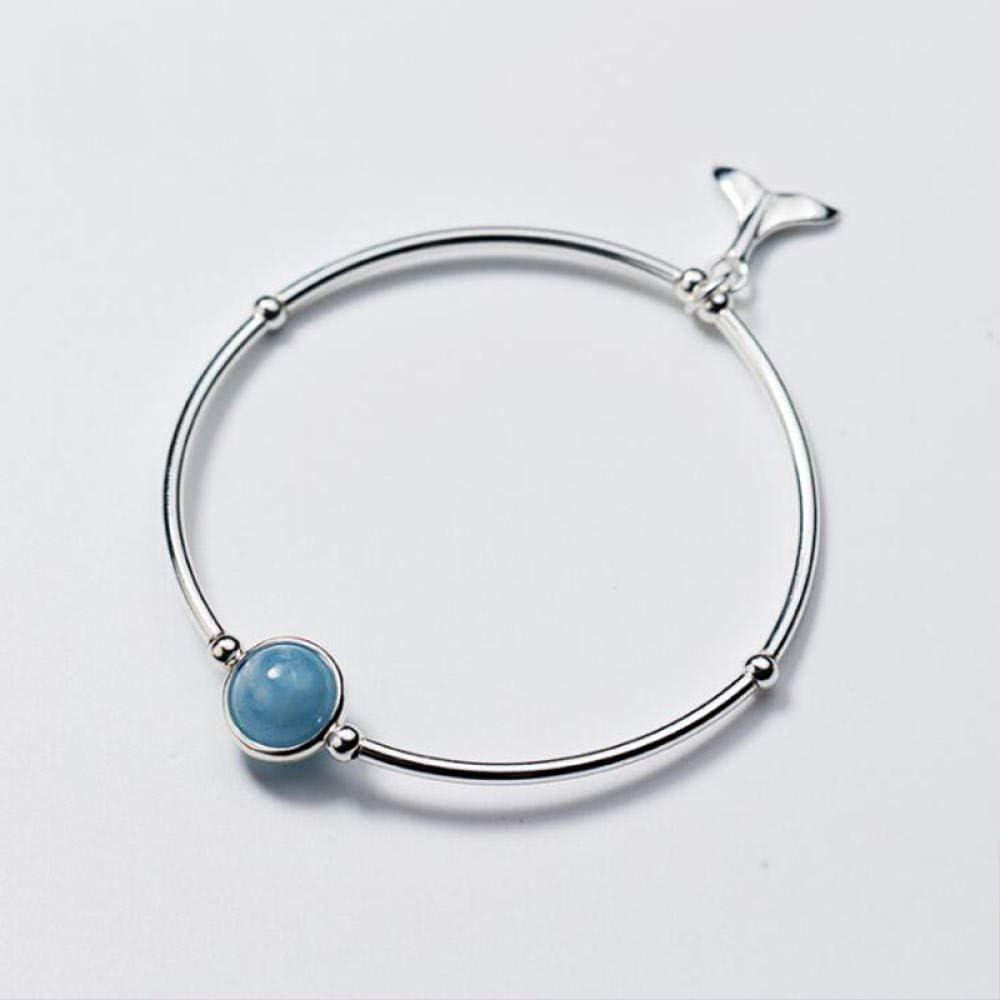 JFHGNJ Forma Azul Cielo Natural Aguamarina Piedras Preciosas Plata de Ley 925 Pulsera de Mujer Joyería Fina para Mujer