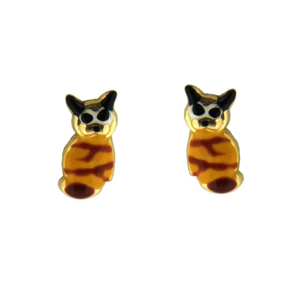 18K Yellow Gold Yellow Enamel Cat Post Earrings 10mm X 4mm