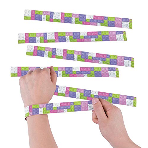 Fun Express - Girl Color Brick Slap Bracelet for Birthday - Jewelry - Bracelets - Slap Bracelets - Birthday - 12 Pieces -