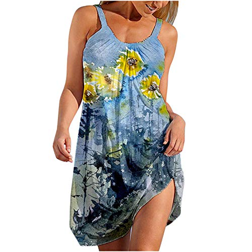 Mortilo Women's Summer Dresses, Ladies Summer Light and Breathable Sexy Fashion Sleeveless Sexy Striped Printed Dress(Blue,35_S