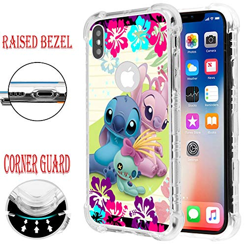 for iPhone XR, Raised Edge Slim Protective Shockproof Rubber TPU Case Cover - Stitch & Angel - Angel Cover