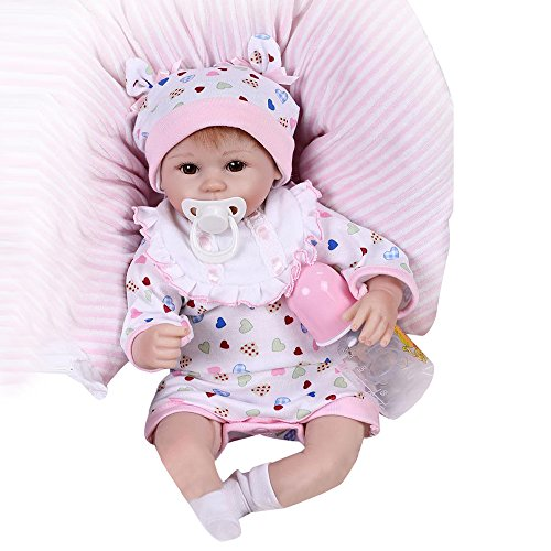 Birdfly Reborn Baby Dolls 42cm Full Body Girl Doll with Clothes and Nozzle for Toddlers -