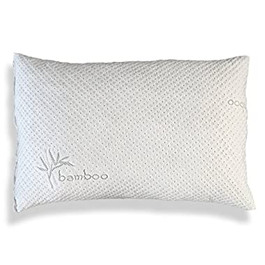 Hypoallergenic Bamboo Pillow - Shredded Memory Foam With Kool-Flow Micro-Vented Bamboo Cover - Hypoallergenic and Dust Mite Resistant (Queen)