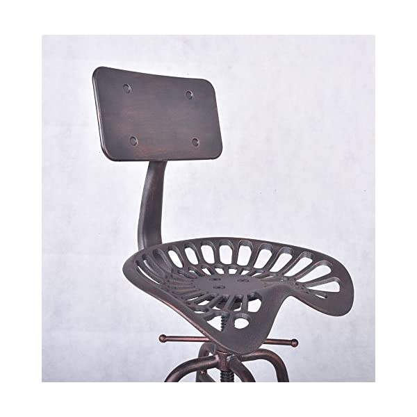 Diwhy Industrial Design Metal Adjustable Height Backrest Chair Vintage Tractor Saddle Bar Stool (Copper) (Copper, Style 1)