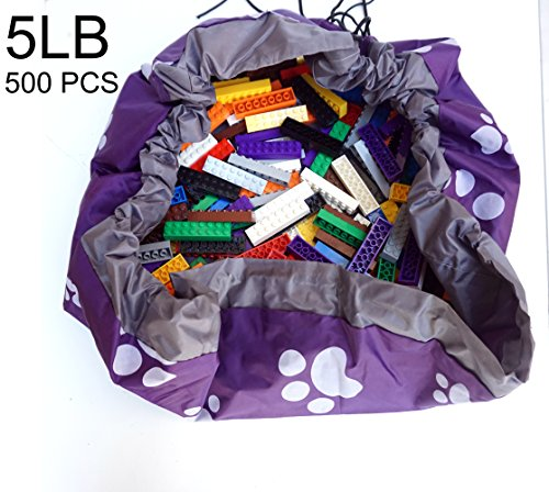 [Build A Wall] 500 PCS, 5 LB 2X8 Big Building Bricks in a Storage Bag Fit and Compatible with Lego (5LB) (5lb Brick)