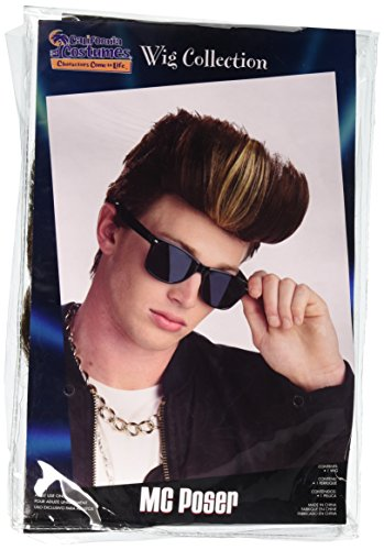 California Costumes Men's M.C. Poser Wig, Blonde/Brown, One Size (Vanilla Ice Wig)