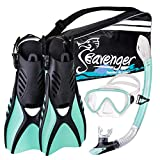 Seavenger Advanced Snorkeling Set with Panoramic Mask, Trek Fins, Dry Top Snorkel & Gear Bag (Mint, Small)