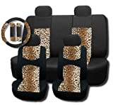 pink batman seat covers - New and Exclusive Mesh Animal Print Interior Set Brown Leopard 11pc Seat Covers Front & Back Lowback, Back Bench, Steering Wheel & Seat Belt Covers - Padded Comfort - Tan Safari