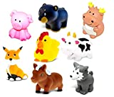 93 bear - Dollibu Bath Buddies Wild Critters Rubber Squirter Toys - Fox, Wolf, Moose, Bear, Cow, Pony, Rooster, Pig - 3 inch - For Baths, Pool, Outdoor - Baby Bathtime Learning (8pc Set)