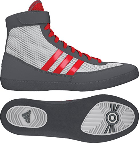 adidas Combat Speed 4 Youth Wrestling Shoes - White/Red/Grey - 1.5
