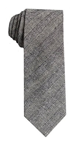 SPREZZA Men's Classic Gray & Charcoal Stripe Tie 2.75 inch Slim Linen Cotton Necktie