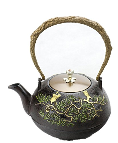 (RUIKA Japanese tetsubin Cast Iron Teapot pine and crane pattern Kettle 1200ml 40)