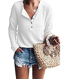 Famulily Women's Waffle Knit Tunic Tops Loose Long Sleeve Button Up V Neck Henley Shirts