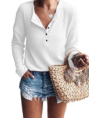 (Famulily Long Sleeve Shirt Womens Loose Button Down Henley Style Fall Casual Waffle Knit Tops White S)