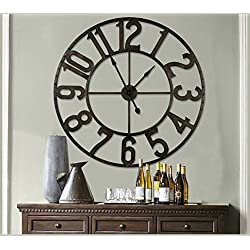 NIKKY HOME 41 Led Lighted Hollow Out Metal Large Wall Clock Vintage Black