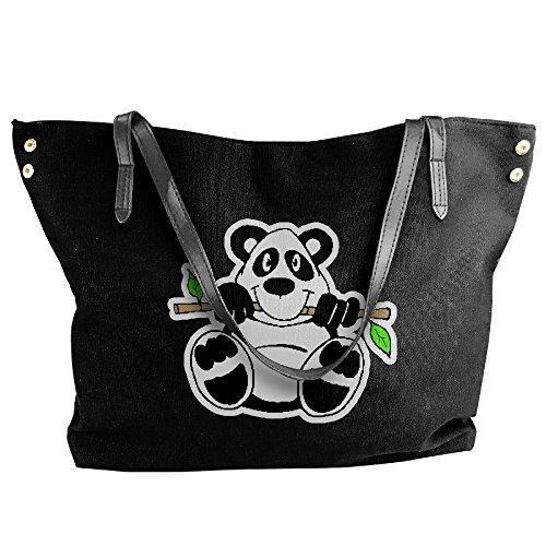 Bamboo Large Canvas Messenger Panda Tote Shoulder Handbag Women's Clipart Bags Black gSYxFAFn