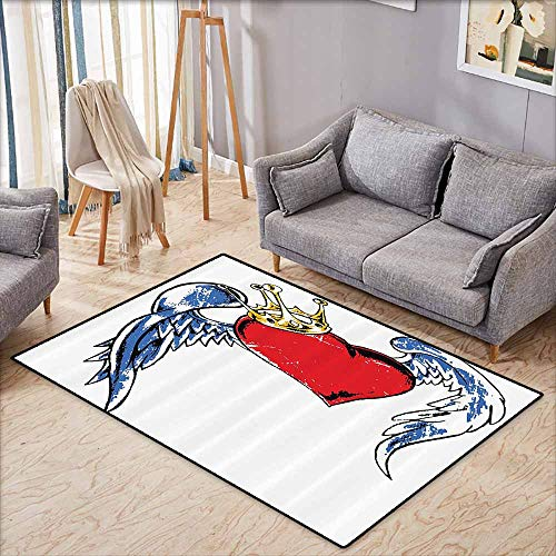 - Door Rug for Internal Anti-Slip Rug Tattoo Decor Grunge Heart Figure with Wings and Crown Forever Kingdom of Love Symbol Graphic Red Blue Non-Slip Backing W5'2 xL3'2