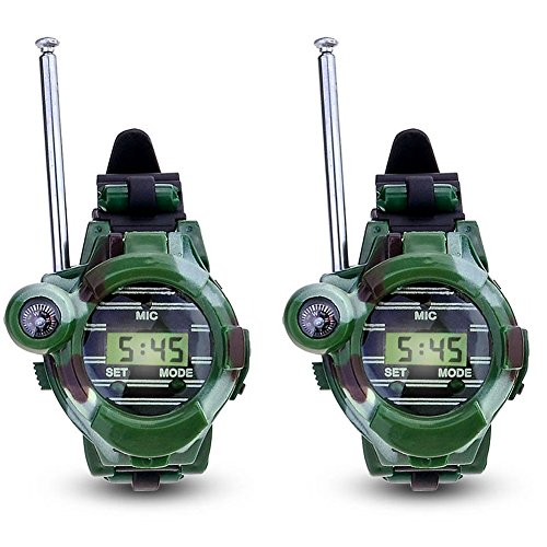 Ondream Watch Walkie Talkies For Kids Long Range Two-Way Radio Walky Talky Camo Outdoor Army Toys 150 Meters (2 PACK)