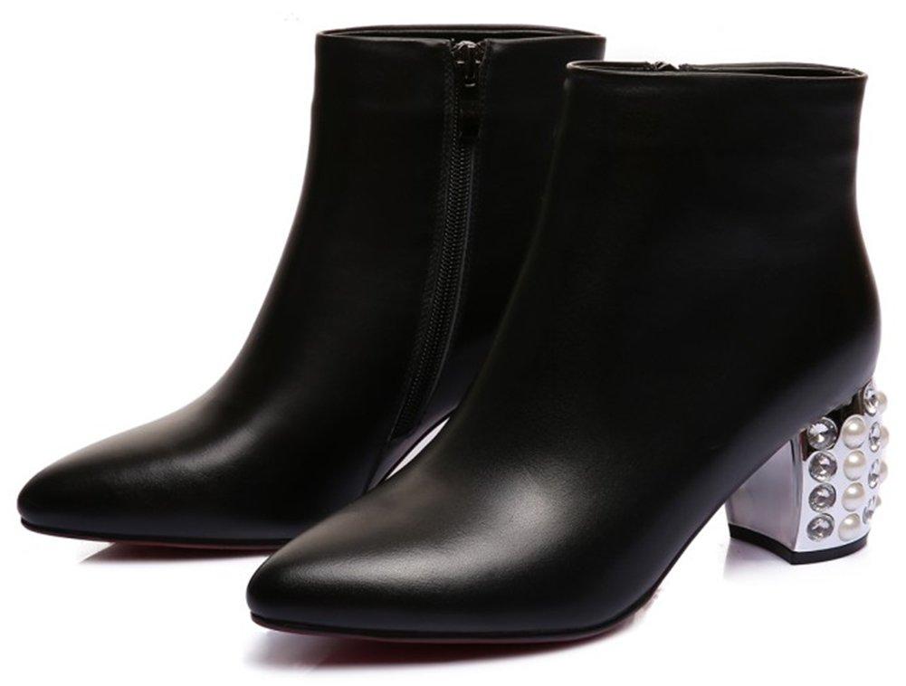 QZUnique Women's Ladies' High Heels Genuine Leather Short Boots Soft Shoes Glass Diamond Decor
