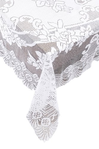 Ritz 100% Polyester Easy Care Linen Lace Tablecloth, Oval, 63 by 90-inch (160-cm by 228-cm), White Floral