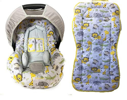 Conjunto De Capa Bebe Conforto E Capa De Carrinho E Acolchoado- Safari Amarelo Alan Pierre Baby