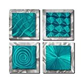 Statements2000 Set of 4 Handmade Teal Blue Metal Wall Art Accents by Jon Allen, 4 Squares Teal