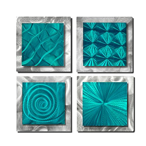 Statements2000 Set of 4 Handmade Teal Blue Metal Wall Art Accents by Jon Allen, 4 Squares ()