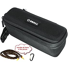 DSALL Hard Case Travel Bag for Anker SoundCore / SoundBot SB571 Bluetooth Speaker includes Audio cable & carabiner - 2 Pockets for Audio/USB Cable, Adjustable Handle, 2 Side Zipper Pullers.
