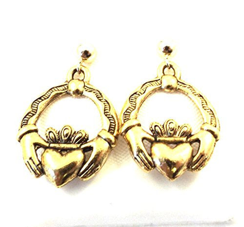 Gold Tone Pewter Claddagh Charms on Hypoallergenic Ball Post Stud Earrings 5390
