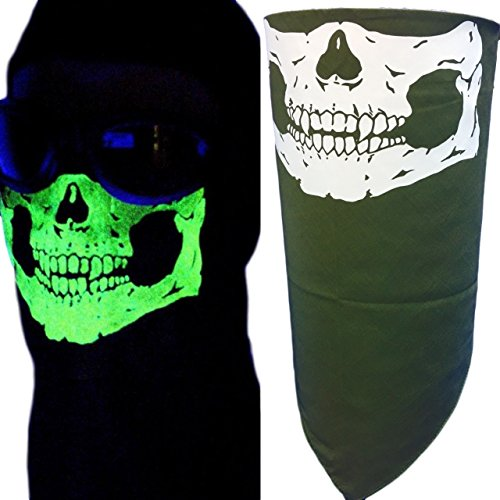 My Skull Store Adjustable Close Olive Green Glow in the Dark Bandana Half Skull Face Neck Mask Cover -