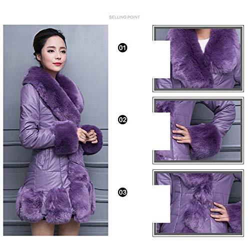 De En Manteau Manches Cuir Fourrure D'unité Centrale Femme point Longues Neuf purple xl Coréenne Fourrure Simili 2WED9IH