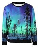 Pandolah Neon Galaxy Cosmic Colorful Patterns Print Sweatshirt Sweaters (Free size, 40825-7)