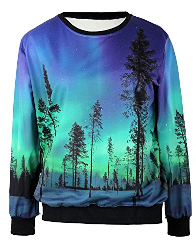 Pandolah Neon Galaxy Cosmic Colorful Patterns Print Sweatshirt Sweaters (Free size, 40825-7) by Pandolah