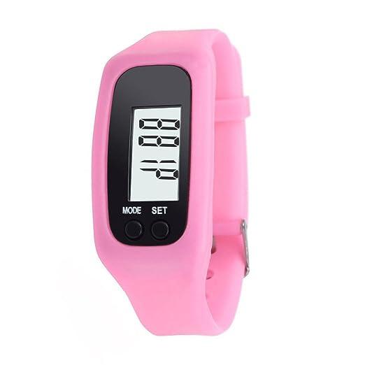 Rcool Mujer Hombre Digital LCD pedómetro ejecutar paso a pie distancia caloría contador reloj pulsera(