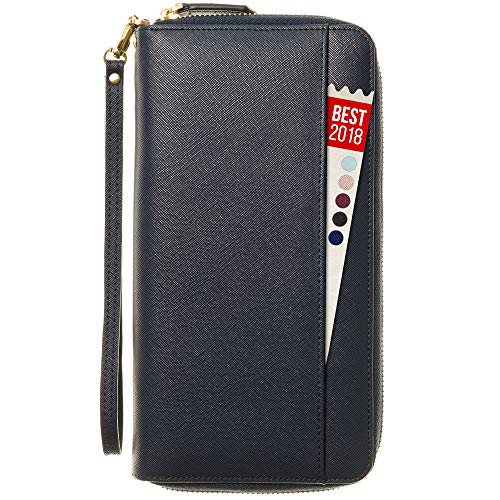 Travel Document Organizer & RFID Wallet Case, Family Holder Id (Navy Blue)